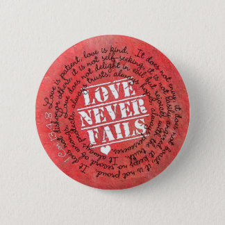 愛は決して聖書の詩1のCorinthiansの13:4 - 8 --を失敗しません 缶バッジ