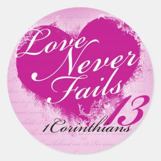 愛は決して- 1つのCorinthians 13のステッカーを失敗しません ラウンドシール
