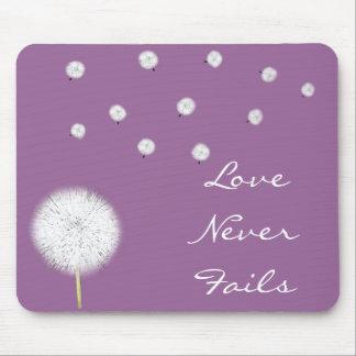 愛は決してDandelion1 Corinthians 13を失敗しません マウスパッド