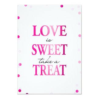 愛は甘いです取ります御馳走印|にマゼンタの紙吹雪を カード