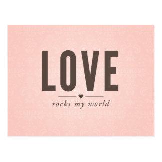 愛は私の世界のヴィンテージの郵便はがきを揺すります ポストカード