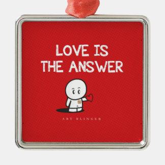 愛は答えです シルバーカラー正方形オーナメント