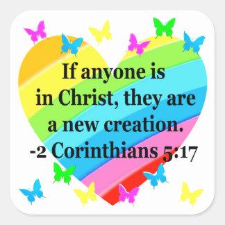 愛は2人のCORINTHIANSの5:17の詩を満たしました スクエアシール