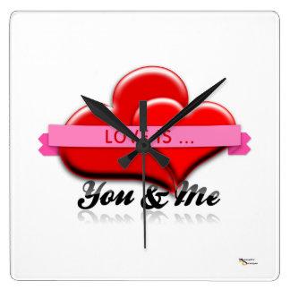 愛は…あなた及び私ロマンチックな柱時計です スクエア壁時計