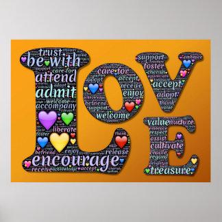 愛は、インスピレーションポスター励ましましたり、受け入れましたり、採用します プリント