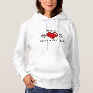 愛は…獣医の技術のフード付きスウェットシャツです パーカ