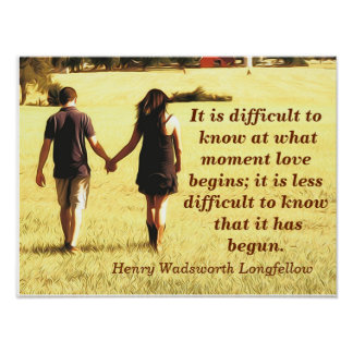 愛は- Longfellowの引用文-芸術のプリントを始めます ポスター
