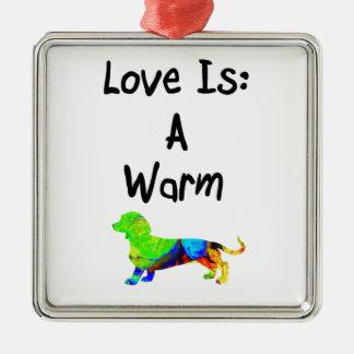 愛はDoxieの暖かいカラフルな小型ダックスフントです メタルオーナメント