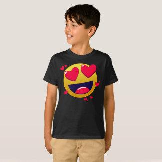 愛はEmoji Smilelyの黄色の顔の子供のTシャツを感情を表に出します Tシャツ