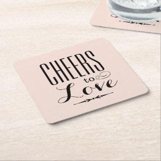 愛への結婚式の飲み物用コースター|の応援 スクエアペーパーコースター