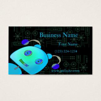 愛らしいかいま見ブーイングの青のロボット 名刺