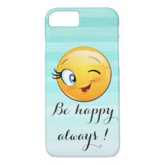 愛らしいまばたきのにこやかなEmojiは常に幸せ顔です iPhone 8/7ケース