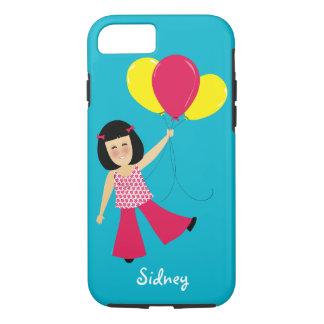 愛らしいアジア女の子および気球は名前を加えます iPhone 8/7ケース