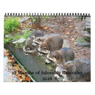 愛らしいアライグマのカレンダー2016年の12か月 カレンダー
