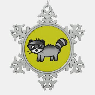 愛らしいアライグマ動物の漫画 スノーフレークピューターオーナメント