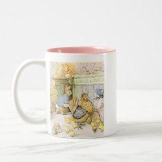 愛らしいウサギおよび家禽 ツートーンマグカップ