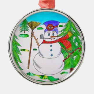 愛らしいクリスマスの雪だるまのオーナメント メタルオーナメント