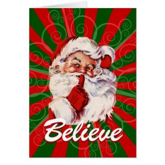 愛らしいサンタはクリスマスのカスタムを信じます カード