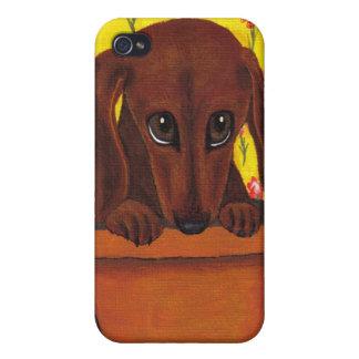 愛らしいダックスフントの子犬Iの電話箱 iPhone 4/4Sケース
