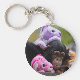 愛らしいチンパンジー及び友人 キーホルダー