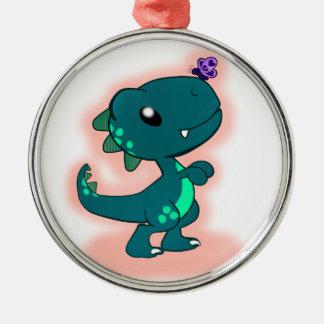 愛らしいティール(緑がかった色)のTレックス メタルオーナメント