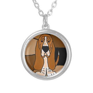 愛らしいバセットハウンド犬の芸術の抽象芸術 シルバープレートネックレス