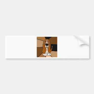 愛らしいバセットハウンド犬の芸術の抽象芸術 バンパーステッカー