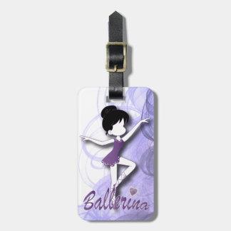 愛らしいバレリーナのダンサー  DIYの文字 の紫色 ラゲッジタグ