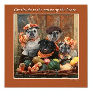 愛らしいパグの平らな感謝祭カード カード