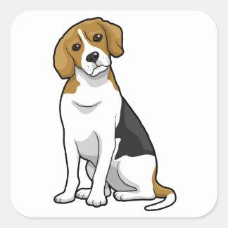 愛らしいビーグル犬 スクエアシール