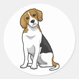 愛らしいビーグル犬 ラウンドシール
