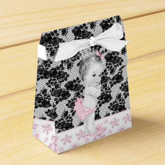 愛らしいピンクおよび黒いベビーシャワーの好意箱