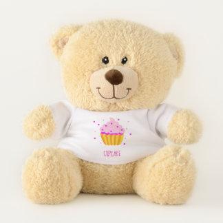 愛らしいピンクのカップケーキ テディベア