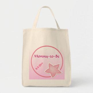 愛らしいピンクの星、ベビーシャワー トートバッグ