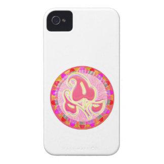 愛らしいピンクの葉の宝石: 眩ますボーダー Case-Mate iPhone 4 ケース