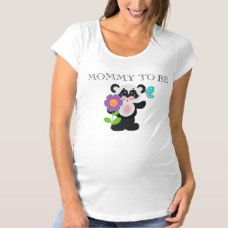 愛らしいベビーシャワーのカスタムなパンダくま マタニティTシャツ