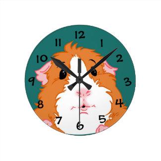 愛らしいモルモットの時計 ラウンド壁時計