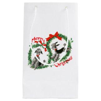 愛らしいレトロのクリスマスのプードルのリースのカスタム スモールペーパーバッグ