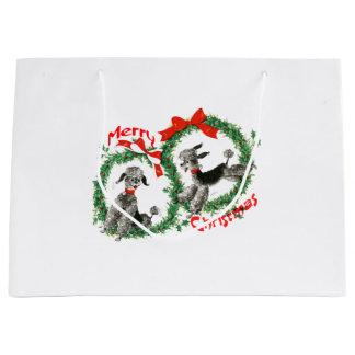 愛らしいレトロのクリスマスのプードルのリースのカスタム ラージペーパーバッグ