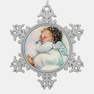 愛らしいヴィンテージの天使の睡眠のクリスマス スノーフレークピューターオーナメント