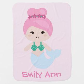 愛らしい人魚の名前毛布のピンク ベビー ブランケット