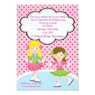 愛らしい女の子のアイススケートの誕生日の招待状 カード