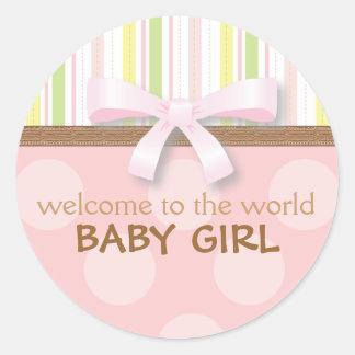 愛らしい女の赤ちゃんは縞で飾ります + 点のピンクの緑wの弓 ラウンドシール