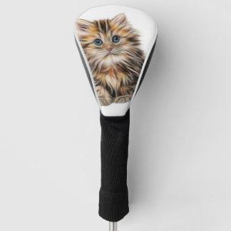 愛らしい子ネコの絵画 ゴルフヘッドカバー
