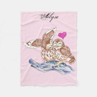 愛らしい愛フクロウの子供の毛布 フリースブランケット