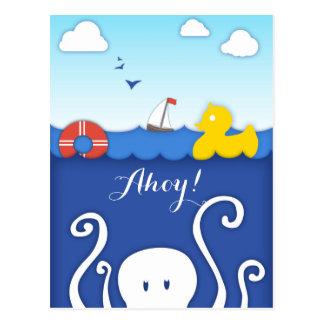 愛らしい海洋生物の航海のな郵便はがき ポストカード