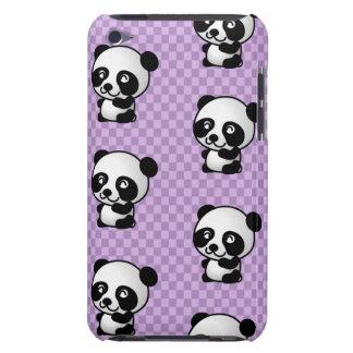 愛らしい漫画のパンダの紫色によって点検される背景 Case-Mate iPod TOUCH ケース