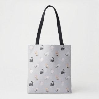愛らしい猫パターン|黒い灰色| トートバッグ