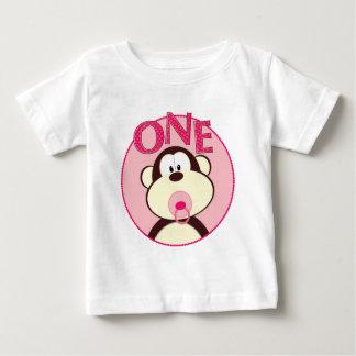 愛らしい猿の第1誕生日のTシャツ ベビーTシャツ