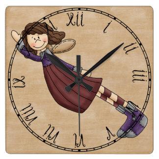 愛らしい田舎の人たちの芸術のぼろきれの天使の人形 スクエア壁時計